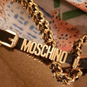 Moschino brushed gold chain belt